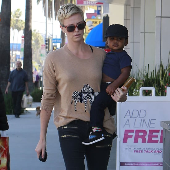 Charlize Theron Wearing Zebra Sweater