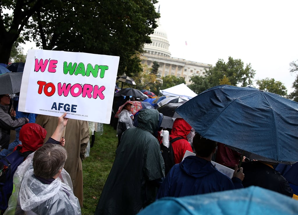At the US Capitol, people held up signs during a rally asking Congress to reopen the government.
