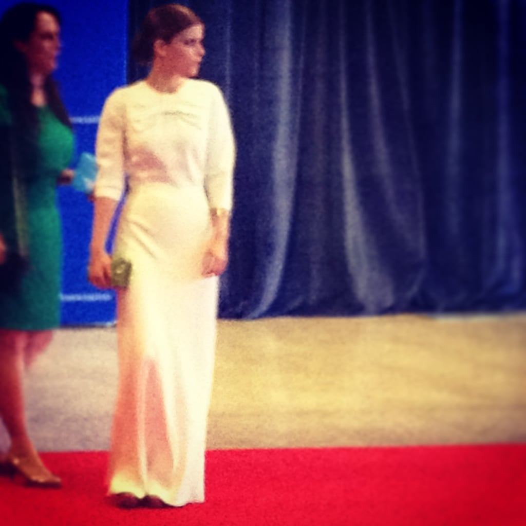 House of Cards star Kate Mara sported a white gown on the red carpet before the dinner.