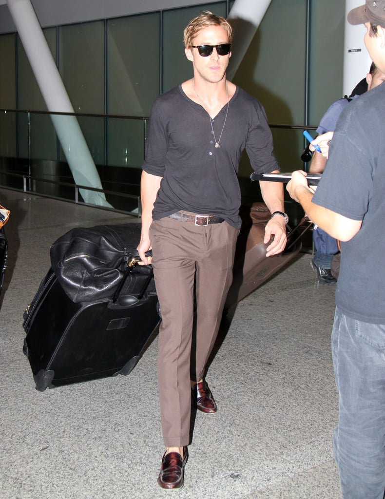 Ryan Gosling with his luggage.