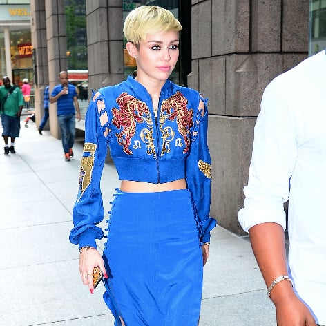 Miley Cyrus In Bright Blue Emilio Pucci Crop Top And Skirt