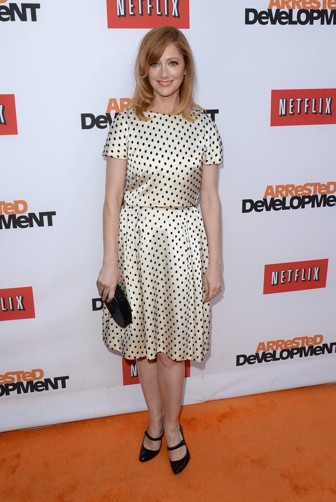 Judy Greer wore a patterned dress.
