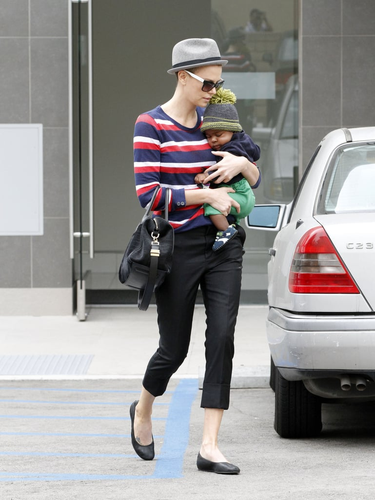 Charlize Theron wore stripes while running errands in Beverly Hills.
