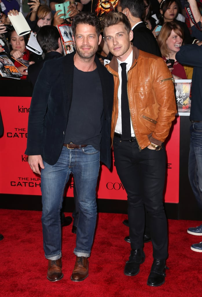 Nate Berkus and his fiancé, Jeremiah Brent, leaned in for photos.