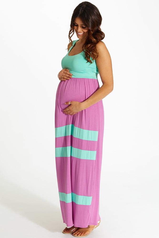Pink Blush Striped Bottom Colorblock Maxi Dress