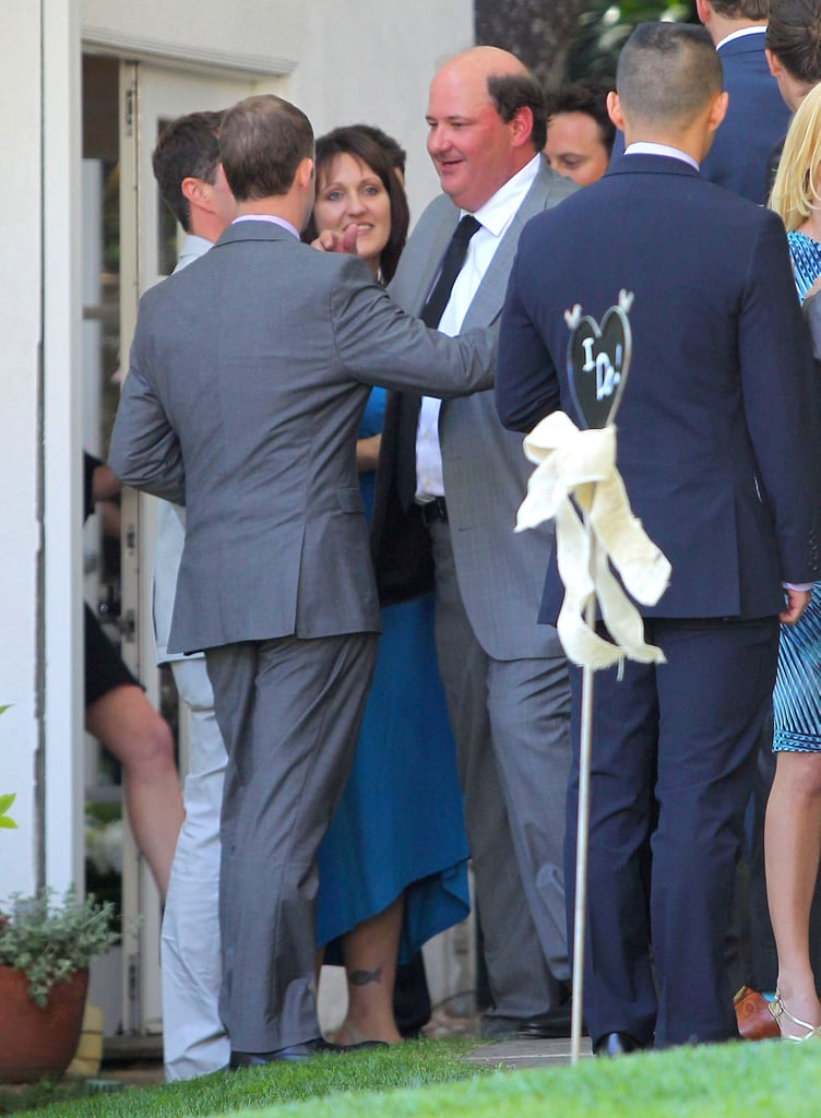 Brian Baumgartner greeted a guest at his wedding.