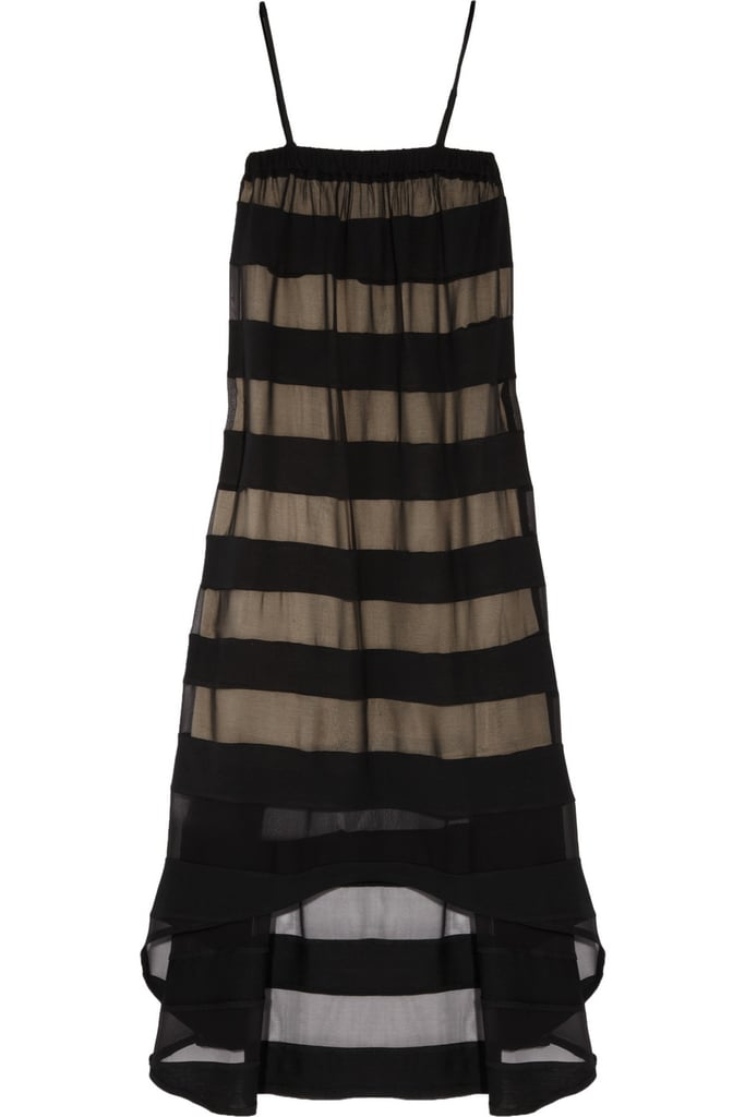 Go beyond the basic LBD with this slightly sheer version. The silhouette is femme and breezy and translates for both a more formal affair or more relaxed atmosphere.  Haute Hippie Striped Silk-Chiffon and Jersey Dress ($425)