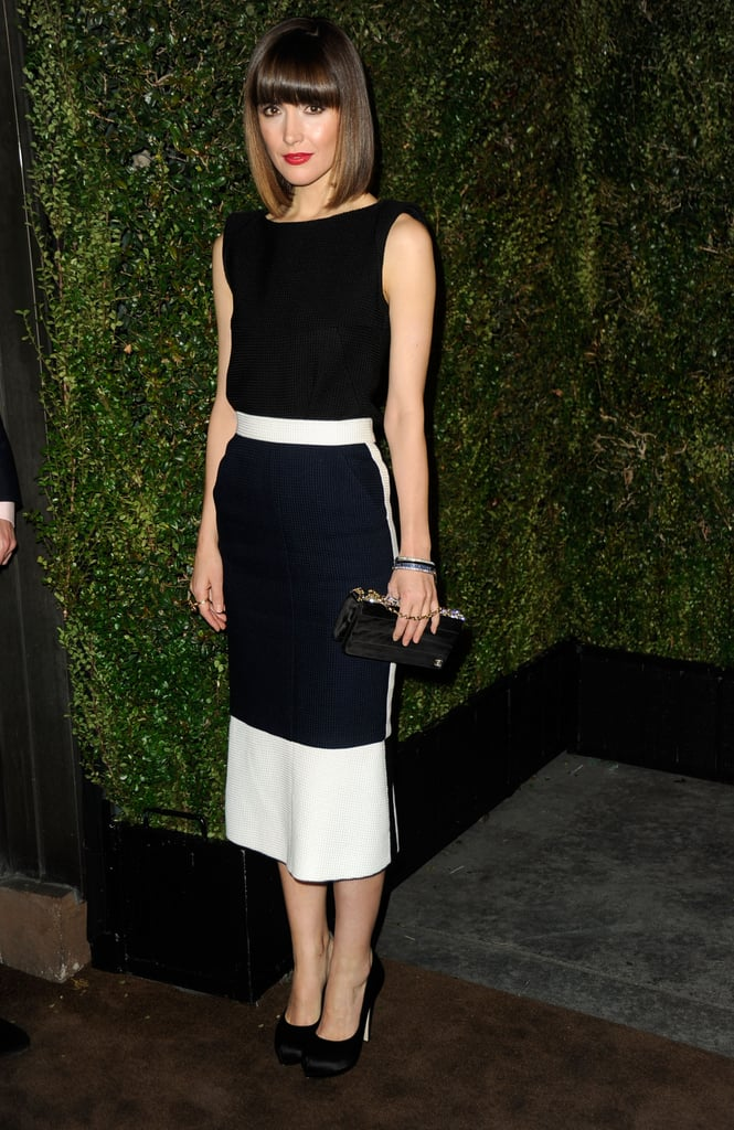 Rose Byrne wore a structured, crisp black-and-white look to match her crisp, structured hair.