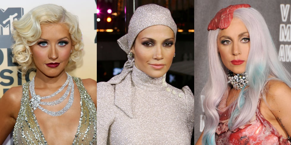 Gaga's Steak Hat, Miley's Buns, and More Iconic VMAs Looks