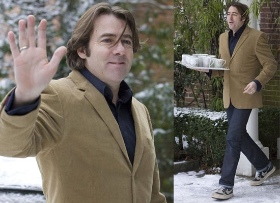 Photos of Jonathan Ross Taking Tea to Journalists in the Snow Outside His North London Home After Quitting the BBC