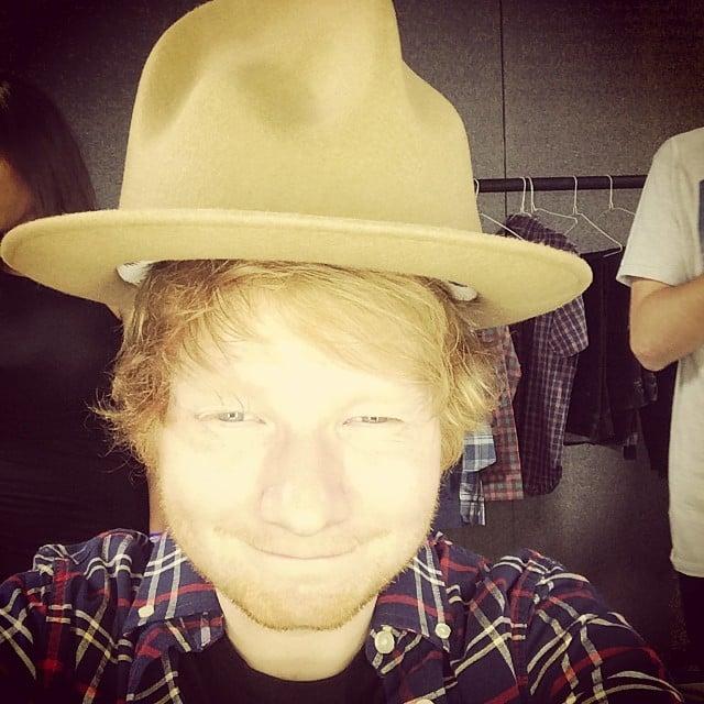 "Ed Sheeran said he ""stole'd a hat"" on Saturday.  Source: Instagram user teddysphotos"
