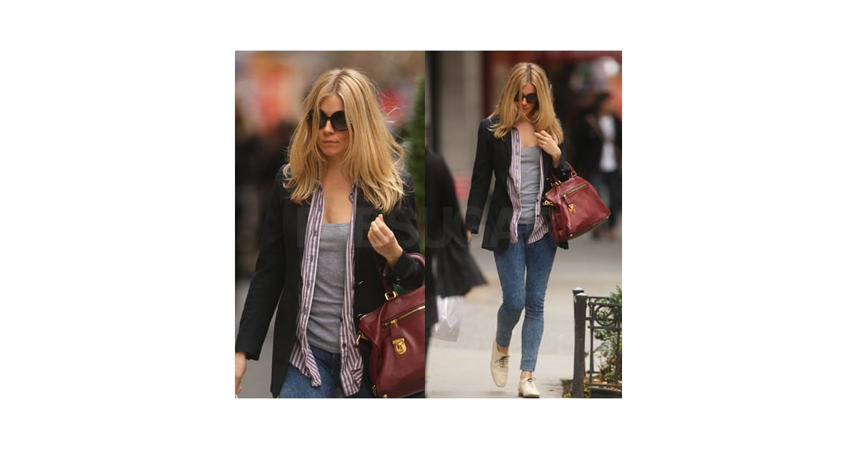 Sienna Miller in Black Blazer, Striped Shirt, Red Prada ...