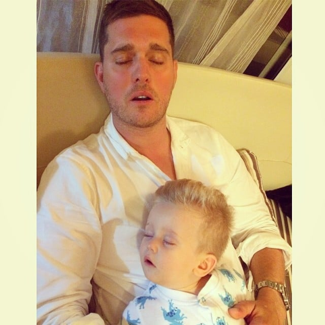 Like father, like son? Noah and Michael Bublé showed off their similar sleeping faces.