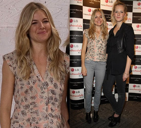 Photo of Sienna Miller in Gray Jeans and Printed Top at 2010 London Fashion Week