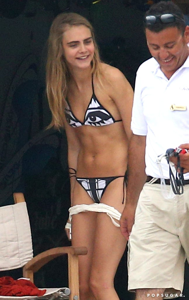 Cara Delevingne stripped down to a bikini during a July yacht trip in the south of France.