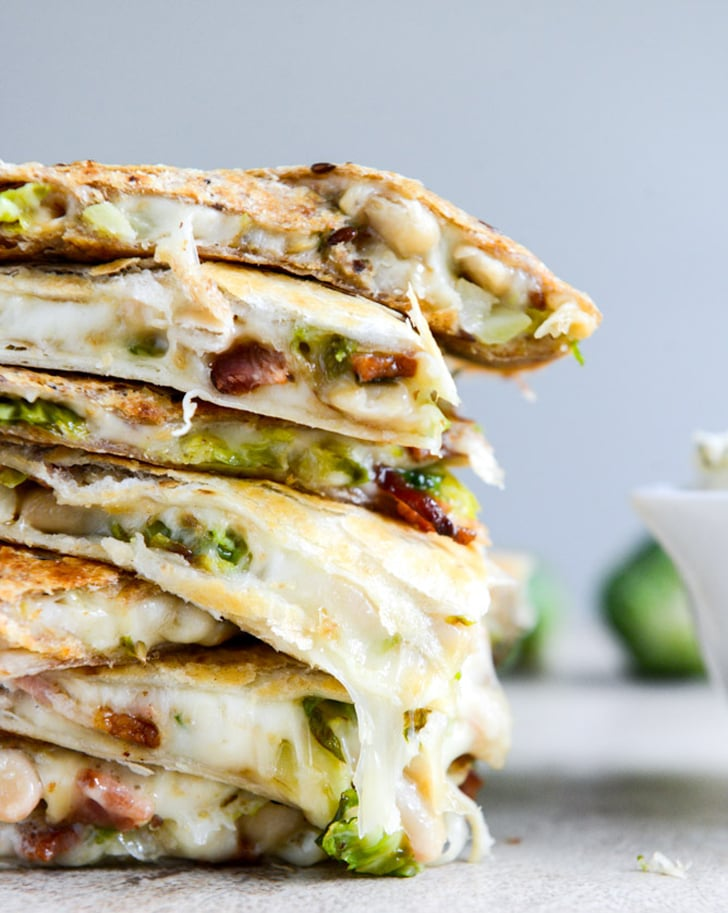 Brussels Sprouts, Bacon, and Bean Quesadillas