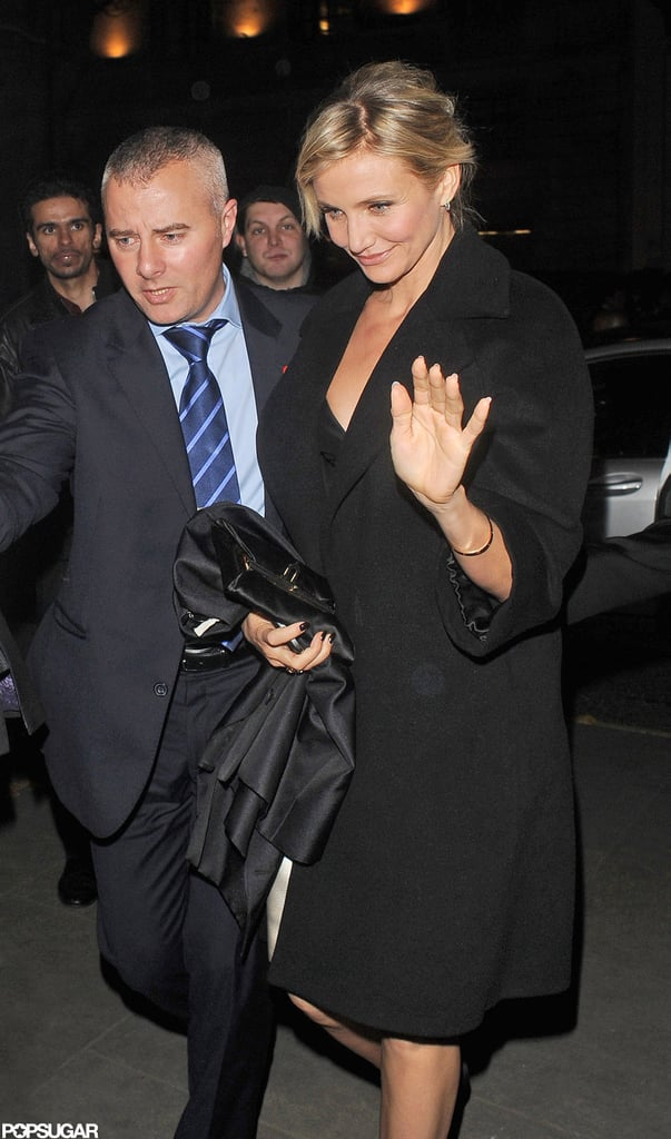 Cameron Diaz waved to photographers in London.