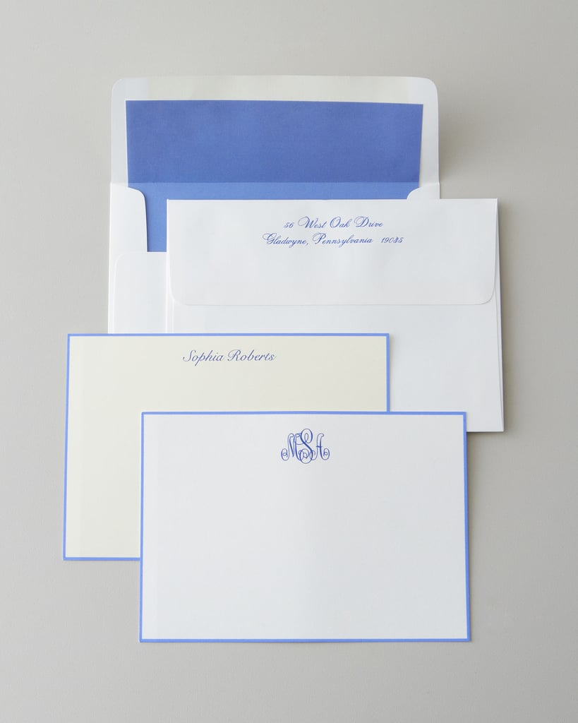 Facilitate the thank-you note process by wrapping up some elegant, personalized note cards ($20-$60).