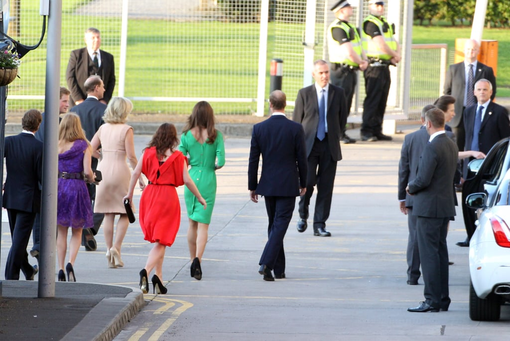 Princesses Beatrice and Eugenie leave Mike Tindall and Zara Phillips's wedding cocktails.