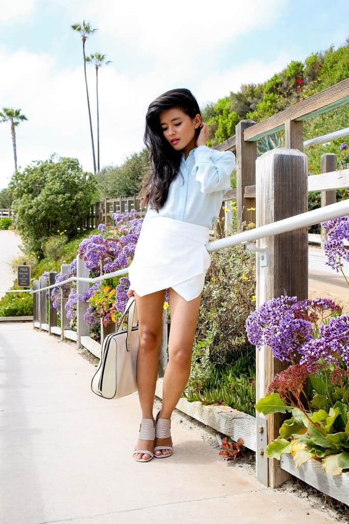 Pastels and a sleek white skort added up to a modern play on Spring classics. Source: Lookbook.nu