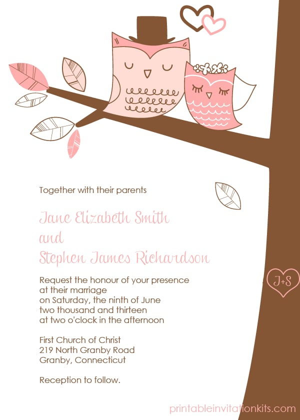 Owl Wedding Invitation