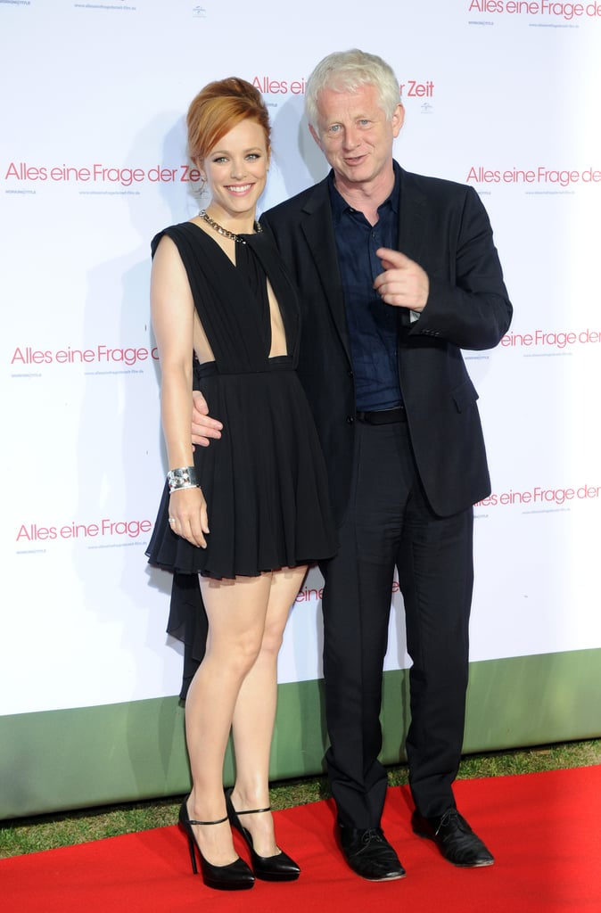 In August 2013, Rachel McAdams smiled while working the red carpet in Munich with About Time director Richard Curtis.
