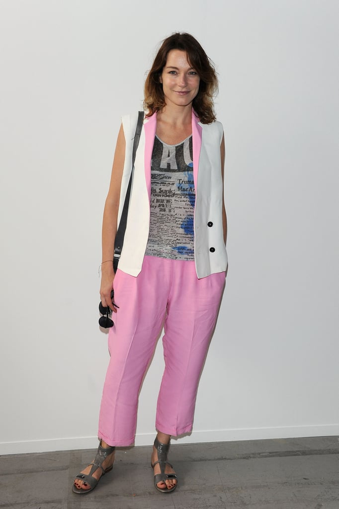 Stefania Rocca at the Costume National Homme Spring 2013 Show in Milan.