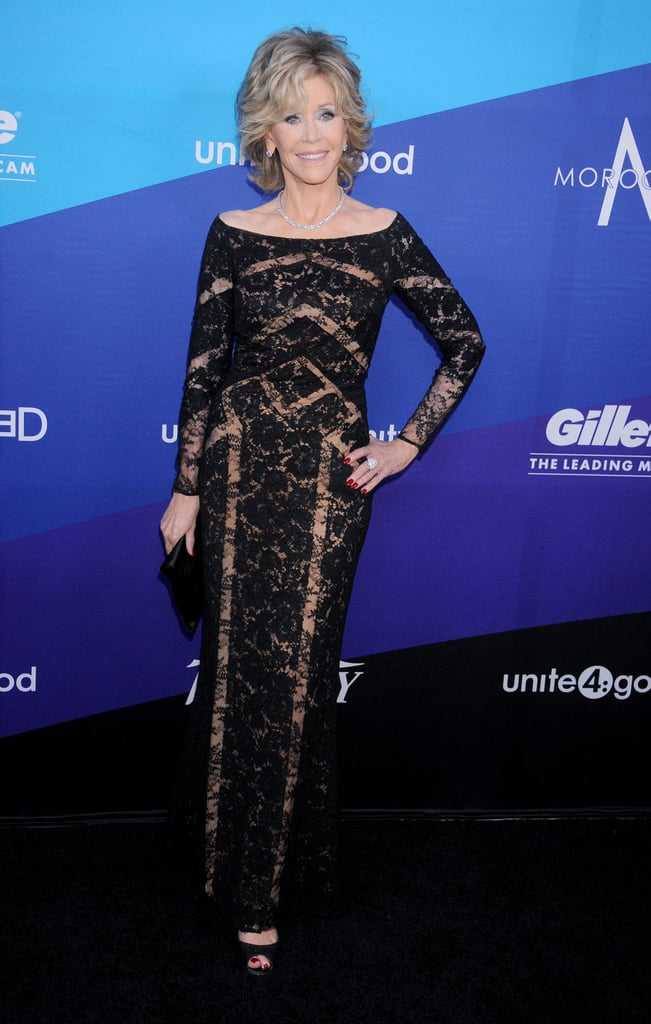 Jane Fonda showed up in lace.