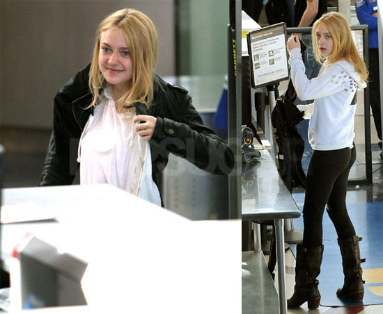 Photos of Dakota Fanning at LAX and Outside Good Morning America