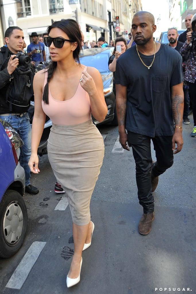 Kim and Kanye went shopping on Monday.