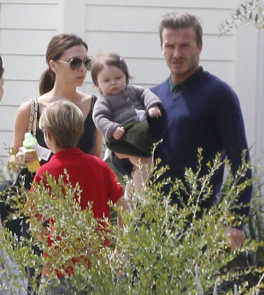 David Beckham held Harper while wife Victoria and the boys accompanied on a family outing for Easter.
