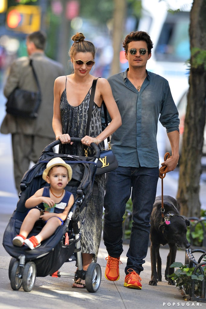 Orlando Bloom walked the couple's dog during their journey.