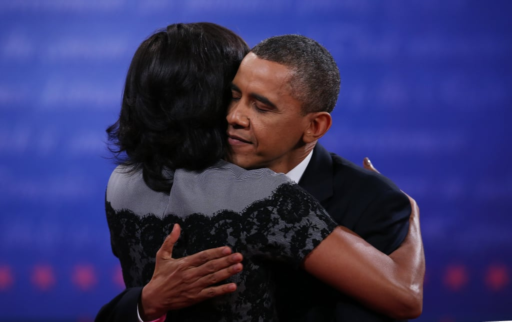 After the final presidential debate in Boca Raton, Barack and Michelle shared a special hug.
