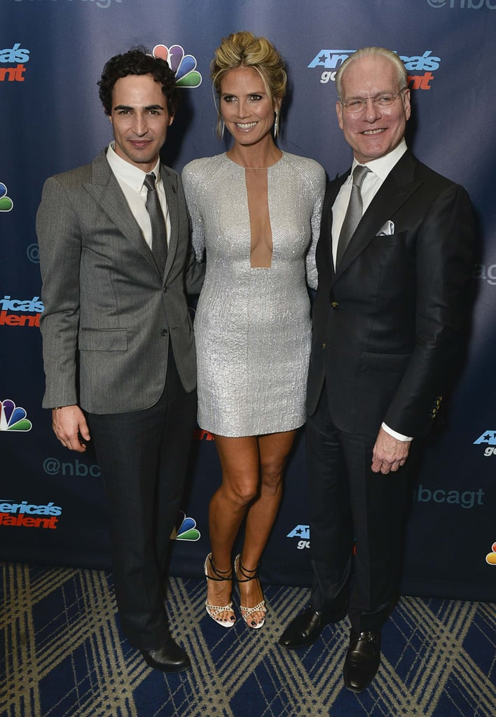 Sparkling in Kaufmanfranco, Heidi Klum struck a pose with her Project Runway crew, Zac Posen and Tim Gunn, at the America's Got Talent after-show.