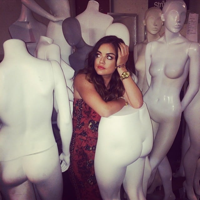 Pretty Little Liars' Lucy Hale hung out with naked mannequins. Source: Instagram user lucyhale