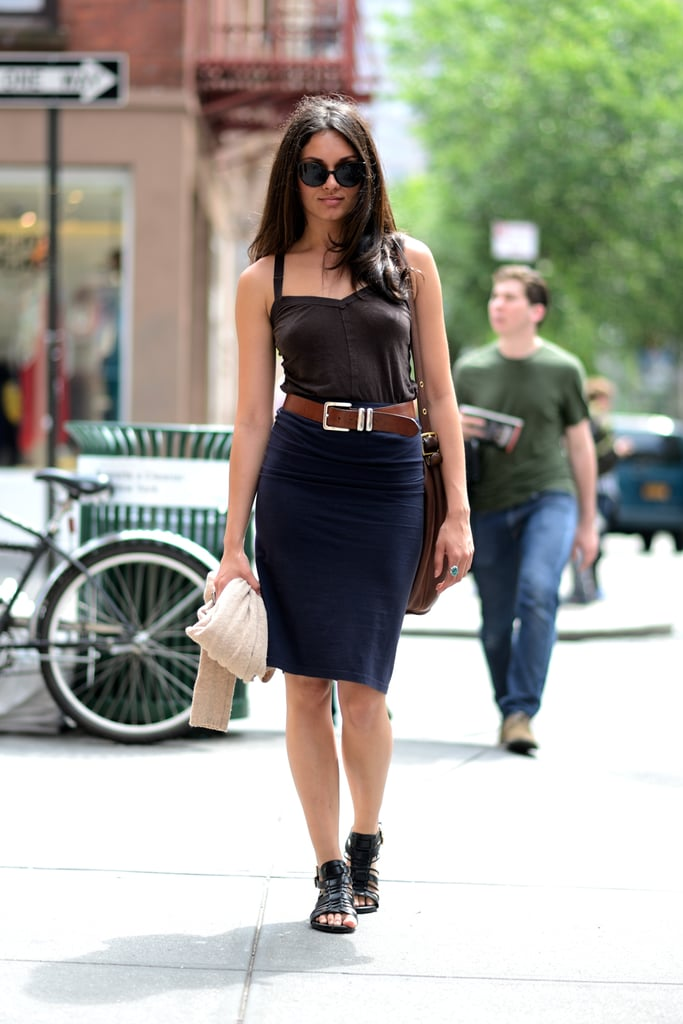 It's tricky finding a bra to fit with a fitted tank like this, but we'd recommend a good strapless to do the trick.
