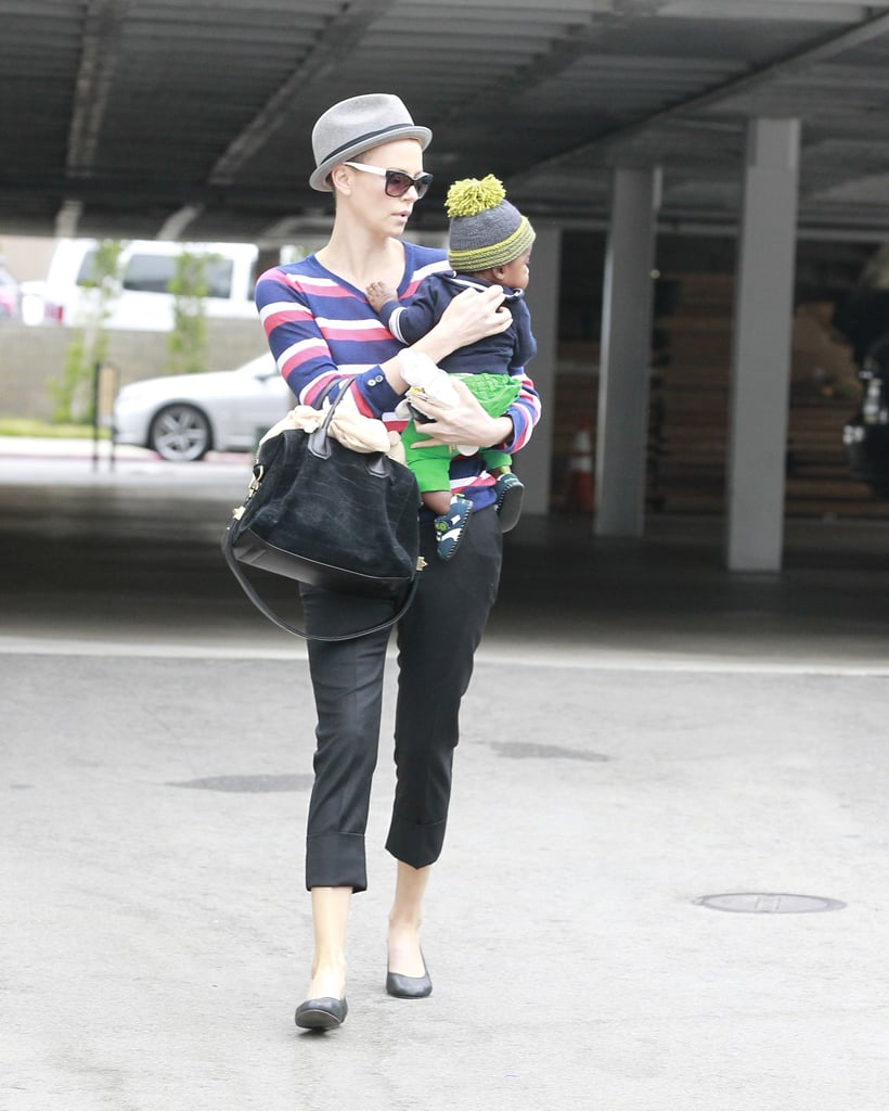 Charlize Theron glanced at Jackson as the two strolled through Beverly Hills.