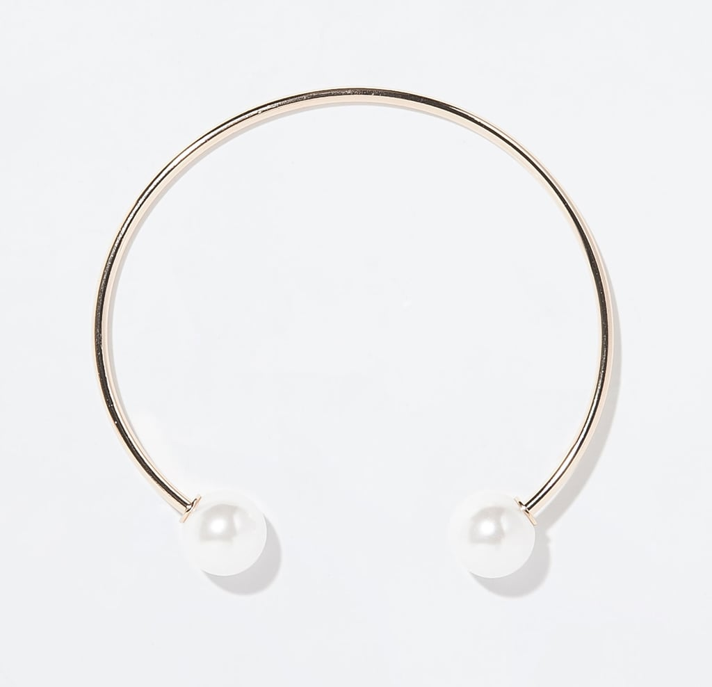 Zara thin metal choker with pearl balls ($20)