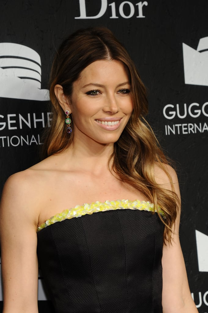 Jessica Biel smiled for photos at the Guggenheim International Gala.