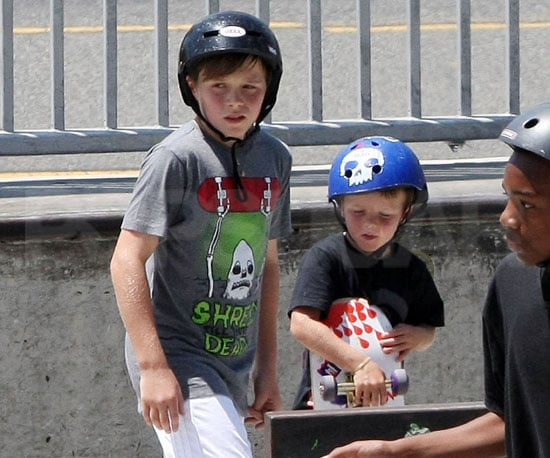 Slide Picture of Brooklyn and Cruz Beckham Skateboarding