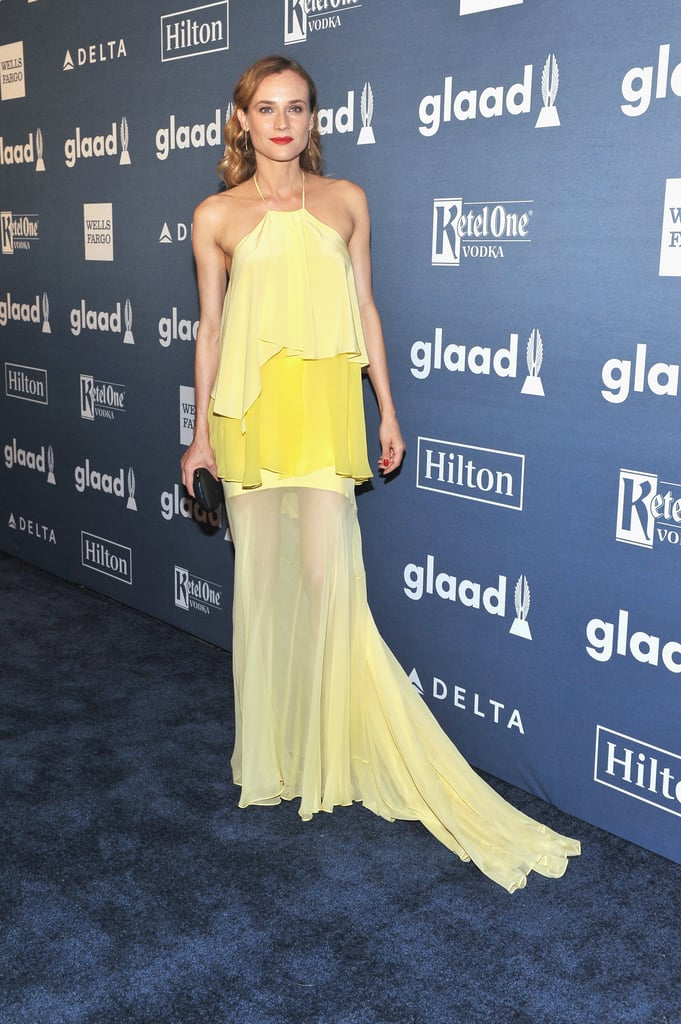 The star attended the 2016 GLAAD Media Awards in a tiered yellow dress.