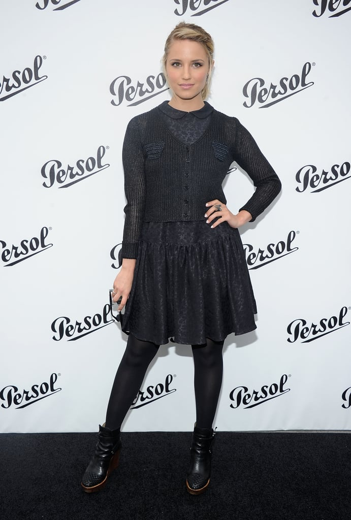 Dianna Agron wore all black to the Persol Magnificent Obsessions event in NYC.