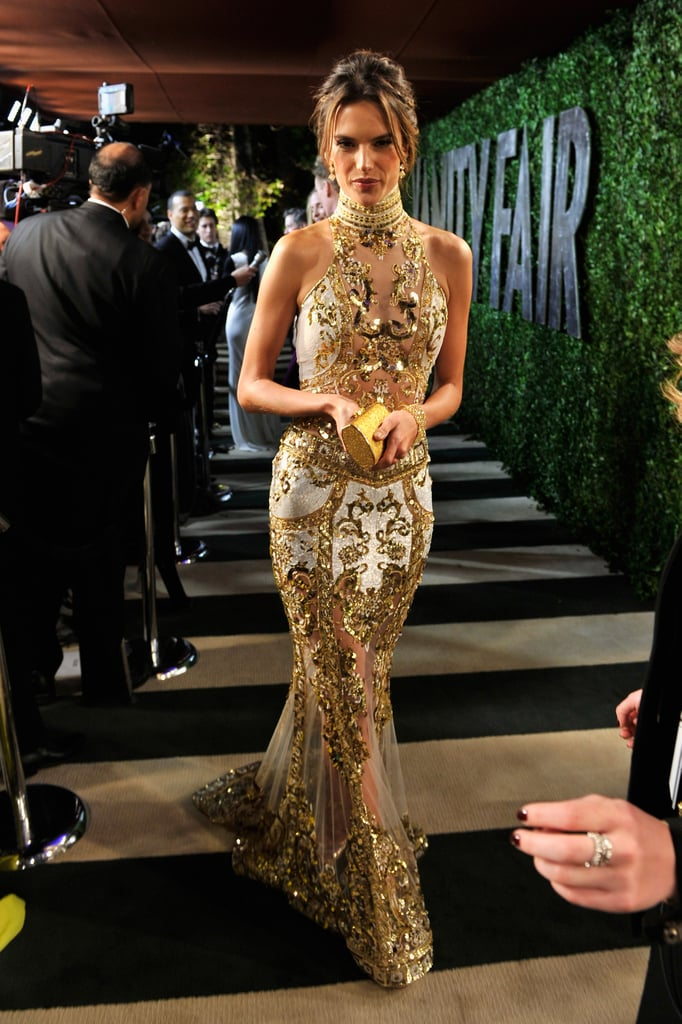 Alessandra Ambrosio walked the carpet at the Vanity Fair Oscar party.