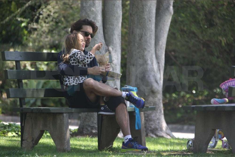 Tobey Maguire relaxed with his daughter Ruby Maguire.