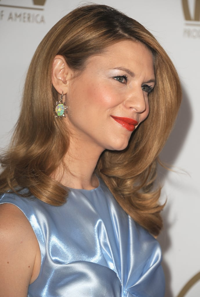 Claire Danes opted for a bold red lip.