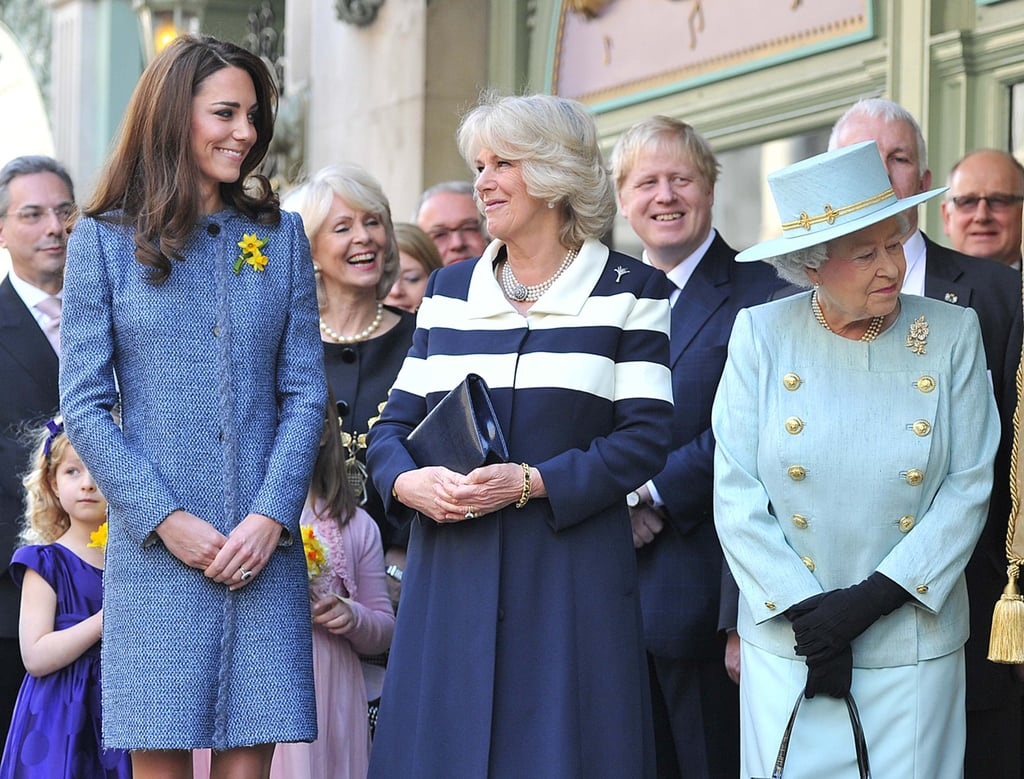 Kate, Camilla, and the queen waited for a plaque to be unveiled for the restoration of Piccadilly outside Fortnum & Mason. The trio also viewed Diamond Jubilee product lines at the store.