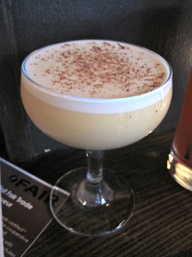 """My favorite drink was the """"fair flip""""; a mixture of vodka, coffee liqueur, sherry, lemon, old fashioned bitters, and egg. It was wonderfully balanced."""