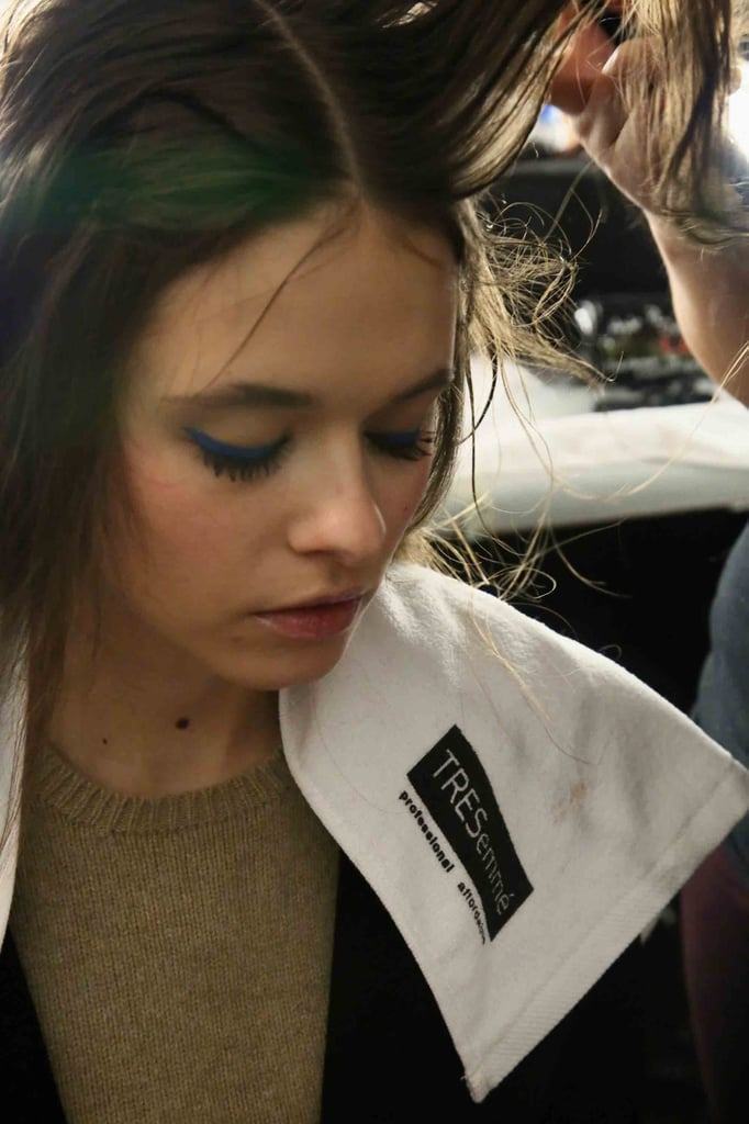 """Makeup artist Sarah Lucero for Stila Cosmetics was inspired by Amelia Earhart and other strong women when creating the bold blue eye. She used the new Stay All Day Waterproof Liquid Eye Liner in Cobalt. """"It's kind of like a Crayola blue,"""" she said of the color."""
