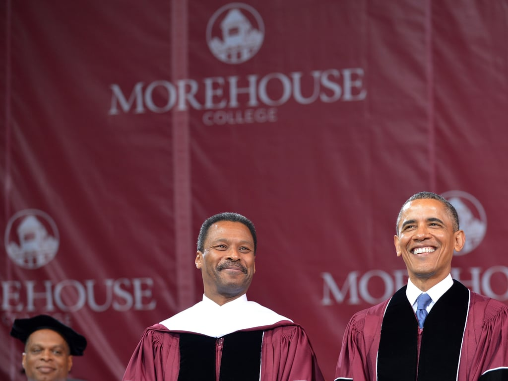 The president smiled at Morehouse College.