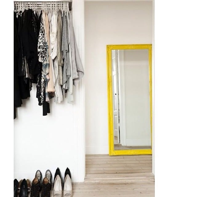 How great is this idea? A bright mirror will instantly jazz up your closet space, and you can easily create the look with just a few DIY skills.  Source: Instagram user bynamesakke